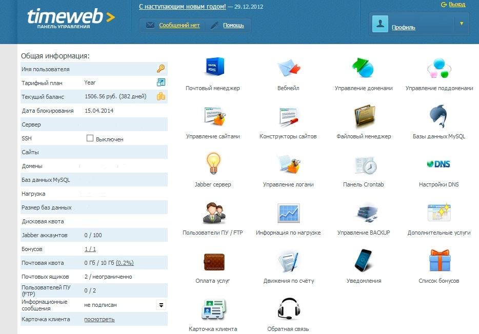Панель управления Timeweb